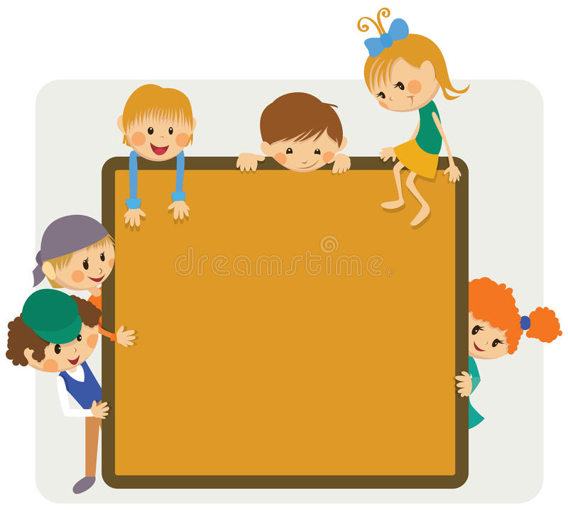 Kids frame notice. Kids banner with the notice stock illustration
