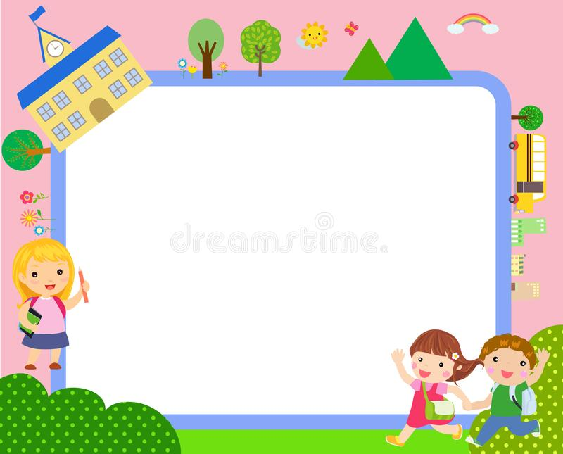 Kids and frame - school stock illustration