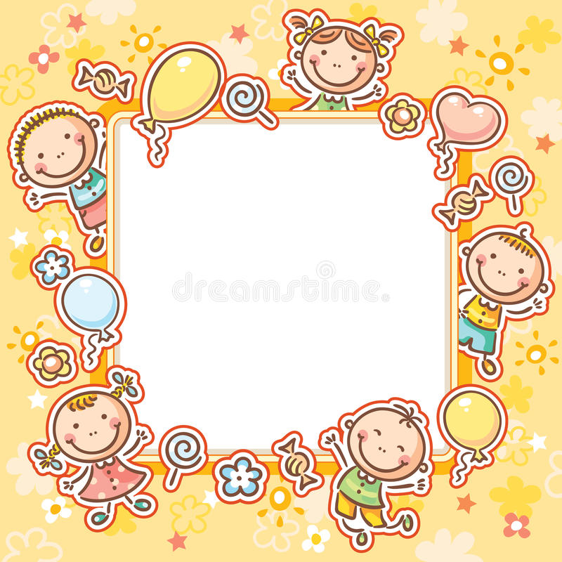 Kids Frame with Sweets and Balloons royalty free illustration