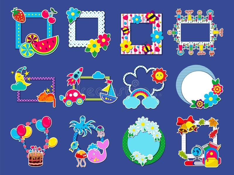 Kids frame vector childish framing picture or child photo on wall for decoration babyroom illustration set of decorative vector illustration