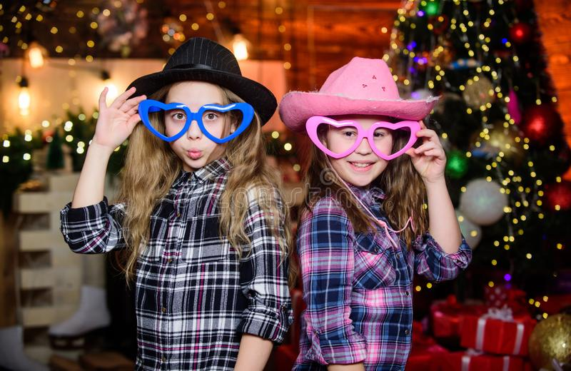 Kids friends celebrate winter holiday. Family celebrate Christmas. Festive atmosphere. Costume party. Party is on royalty free stock image