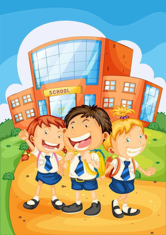 Download Kids in front of school stock vector. Illustration of lady - 26420539