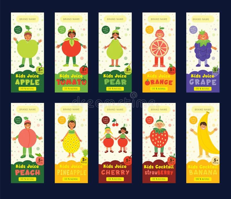 Kids fruit juice packaging vector templates set royalty free illustration