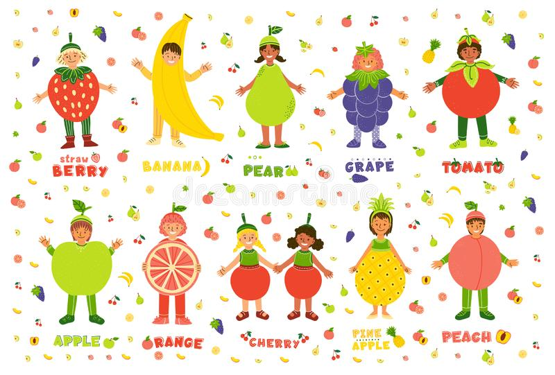 Kids in fruits costumes flat characters set royalty free illustration