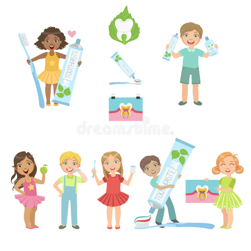 Kids And Fun Dental Care Poster stock illustration