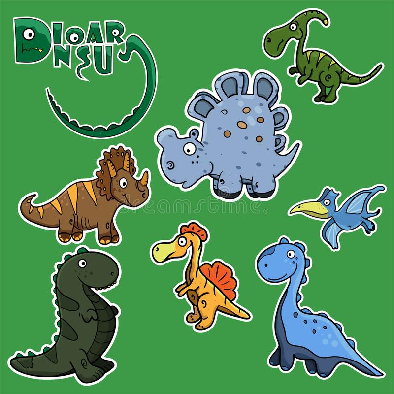 Kids funny stickers in the form of cute dinosaurs. stock illustration