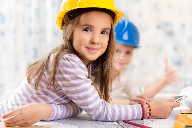Kids future engineers stock photography