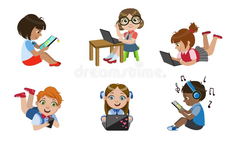 Kids with Gadgets Set, Smiling Boys and Girls Characters Using Tablet, Smartphone, Laptop, Media Player Vector stock illustration