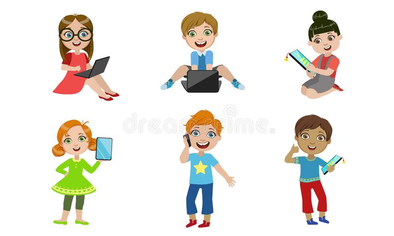 Kids with Gadgets Set, Smiling Boys and Girls Characters Using Tablet, Smartphone, Laptop Vector Illustration royalty free illustration