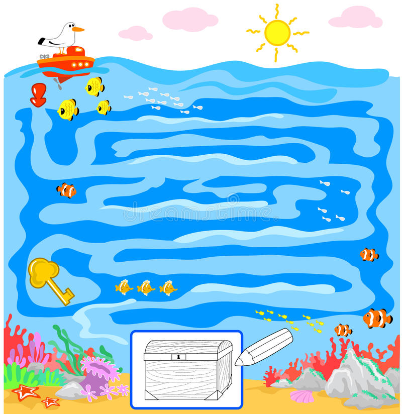Download Kids game: sea maze stock vector. Image of fortune, maze - 25685737