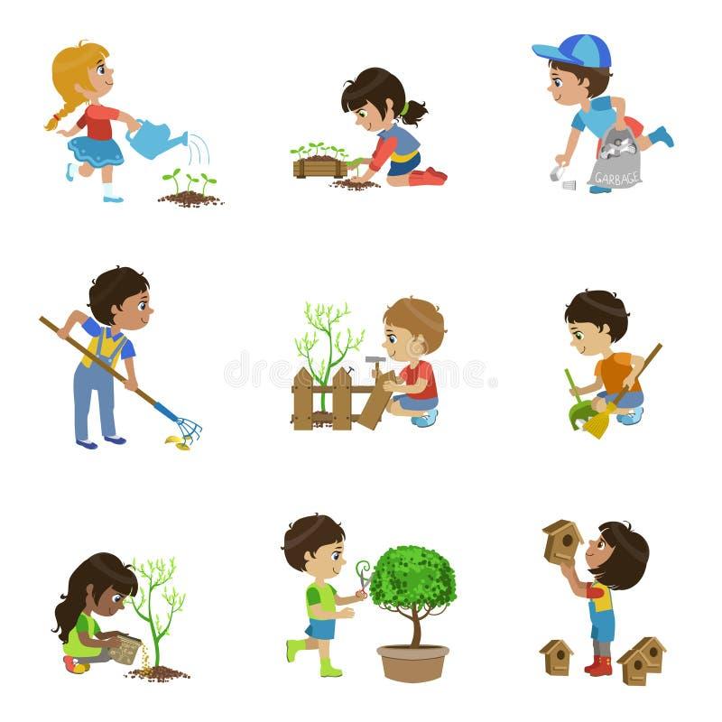 Kids Gardening Illustrations Collection stock illustration