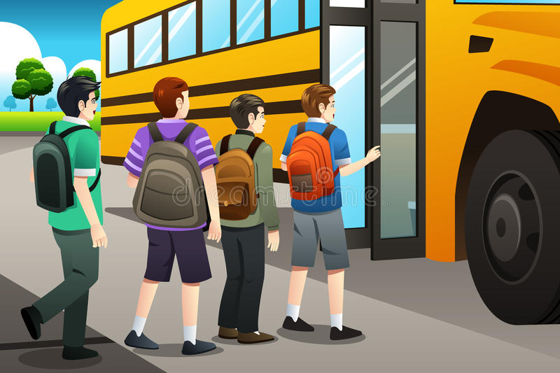 Kids getting on the school bus stock illustration