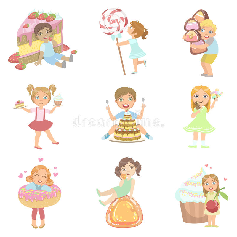 Kids And Giant Sweets Set vector illustration