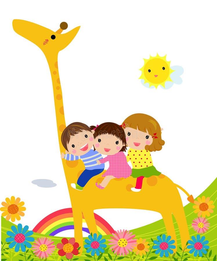 Kids And Giraffe Royalty Free Stock Photo