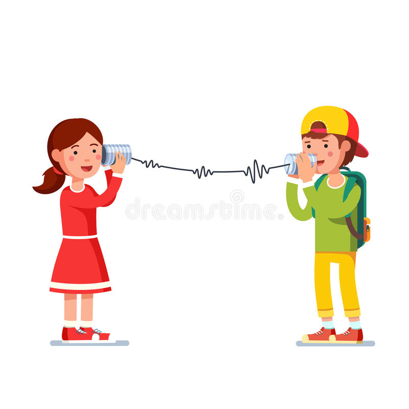 Kids girl and boy talking on wired tin cans phone. Kids girl and boy experimenting talking on a wired tin cans phone transforming sound waves to rope vibration vector illustration