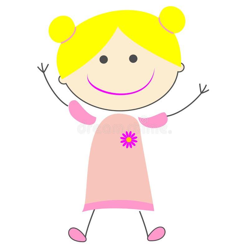 Kids Girl Simple Cartoon Illustration Stock Illustration ...