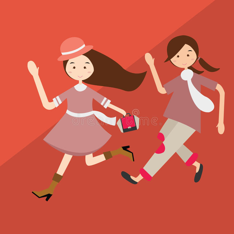 Kids girls running have fun cartoon beautiful illustration purple clothes vector vector illustration