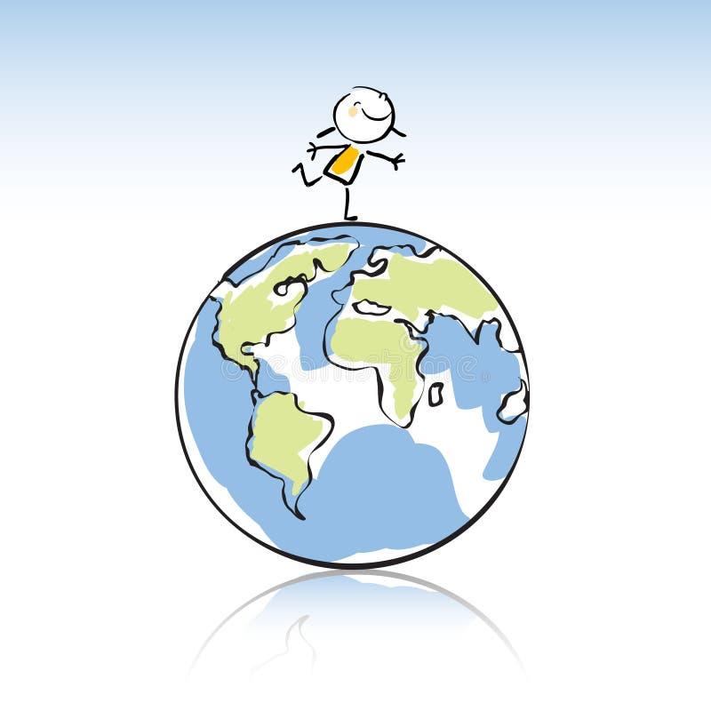 Kids with globe stock illustration