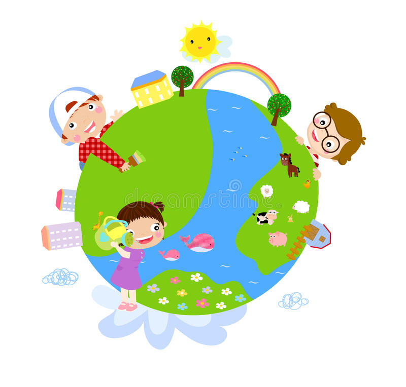Download Kids and globe stock vector. Image of flower, people - 22032618