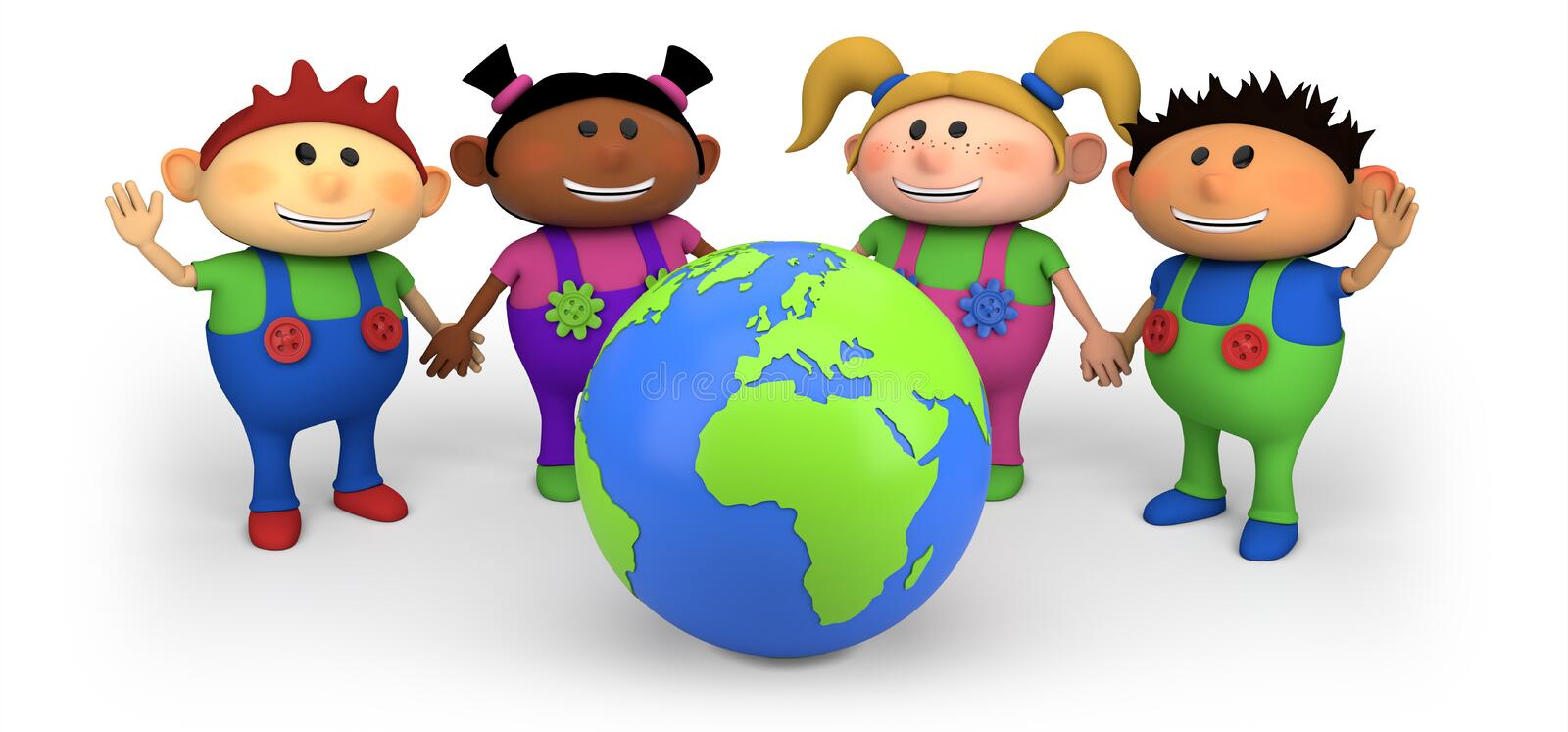 Kids with globe vector illustration
