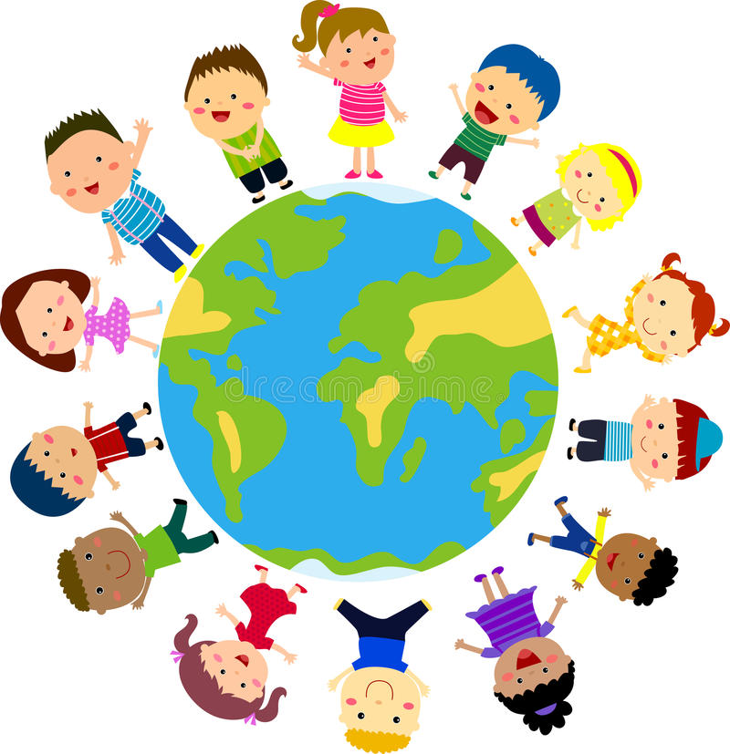 Kids and globe stock illustration
