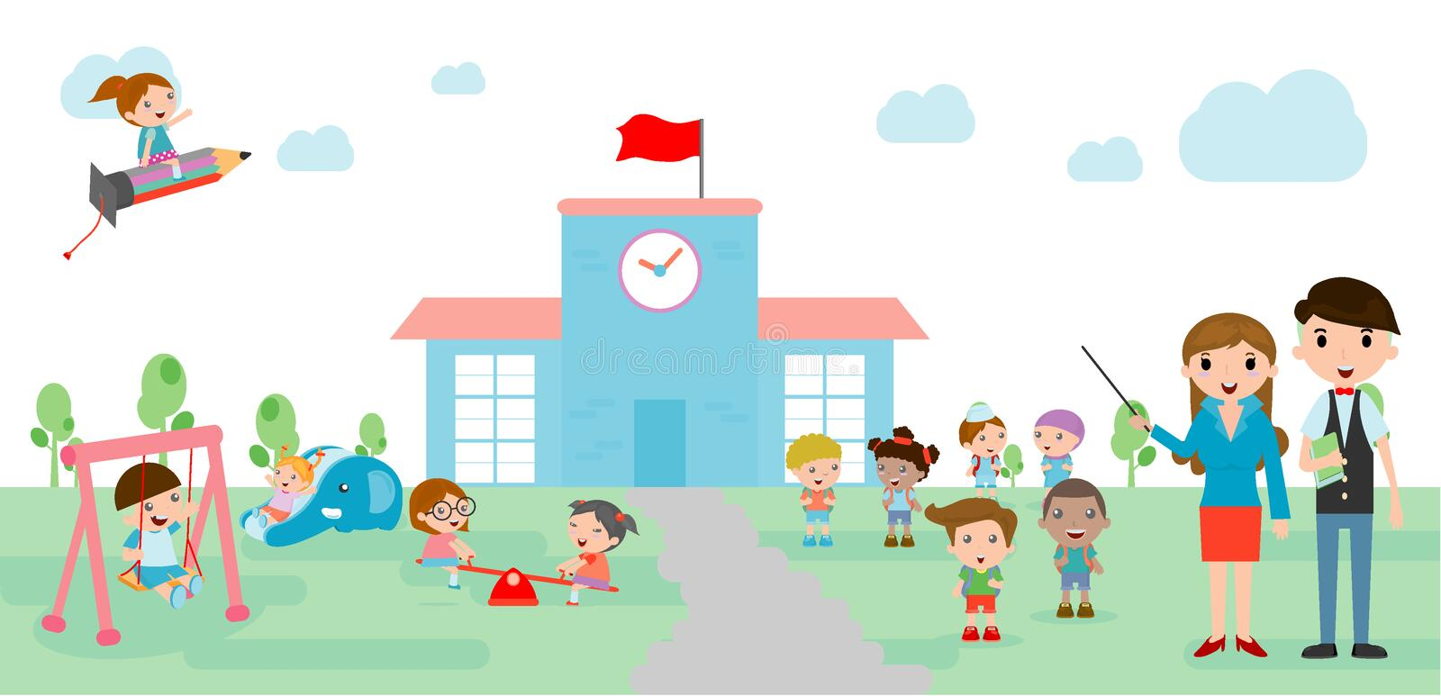 Kids go to school, back to school template with kids, teacher and students, kids and playground royalty free illustration