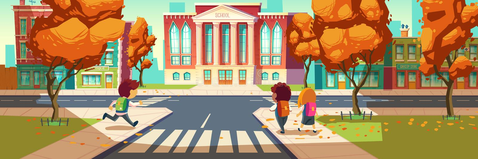 Kids go to school, little students, boys and girl royalty free illustration