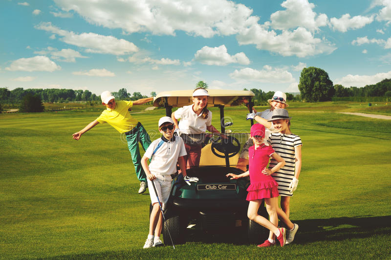 Kids golf competition stock photos