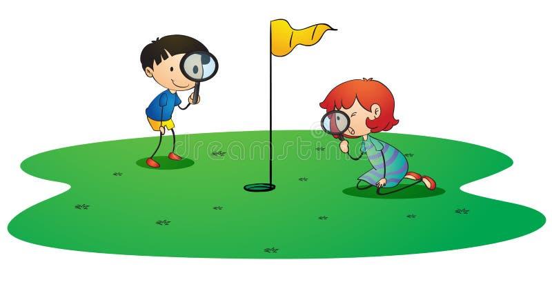 Kids on golf ground. Illustration of kids on golf ground on white background stock illustration