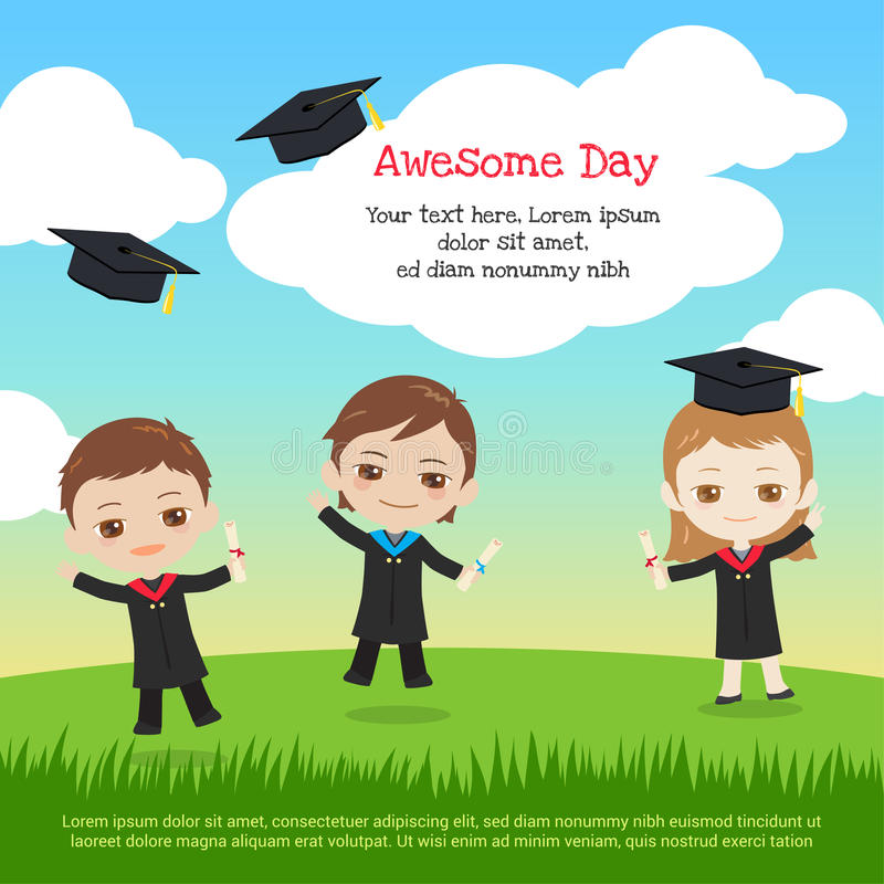 Kids graduation day with boy and girl throwing graduation cap to royalty free illustration
