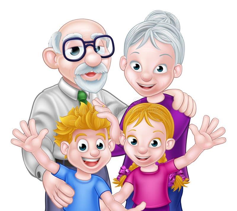 Kids and Grandparents stock illustration