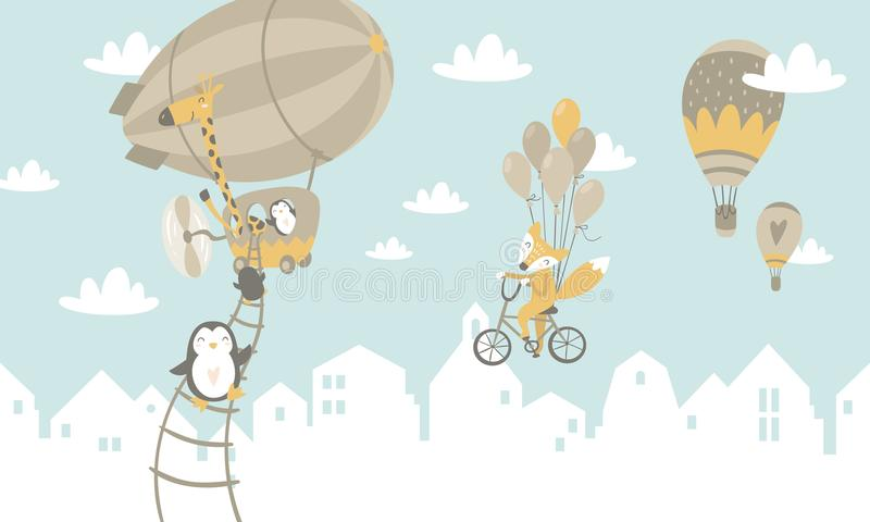 Kids graphic illustration. Using for print on the wall, pillows, decoration kids interior, baby wear and shirts, greeting card, v stock images