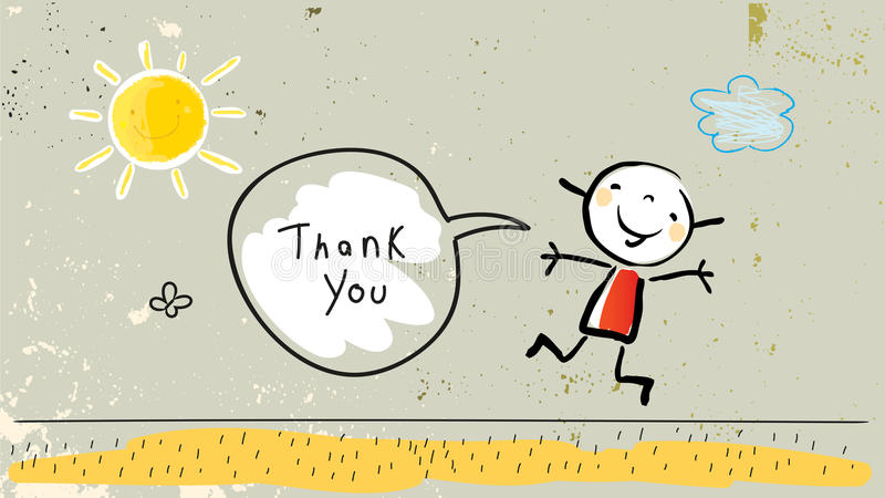Kids gratefulness thank you card royalty free illustration