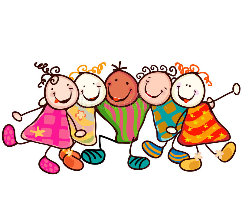 Kids group vector illustration