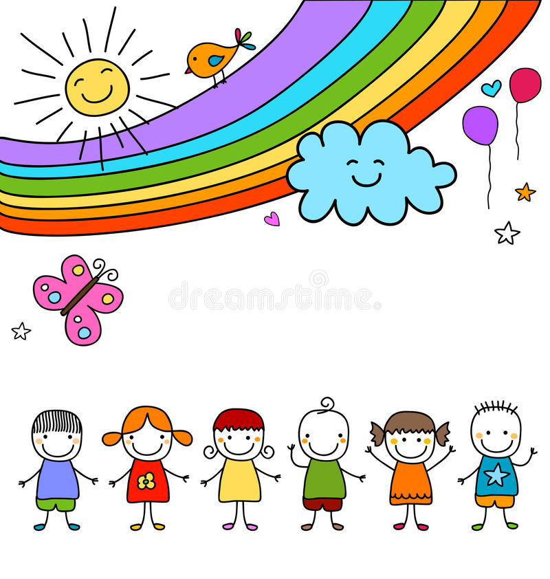 Kids group and rainbow vector illustration