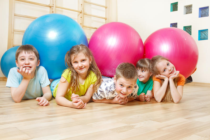 Kids in gym stock photos