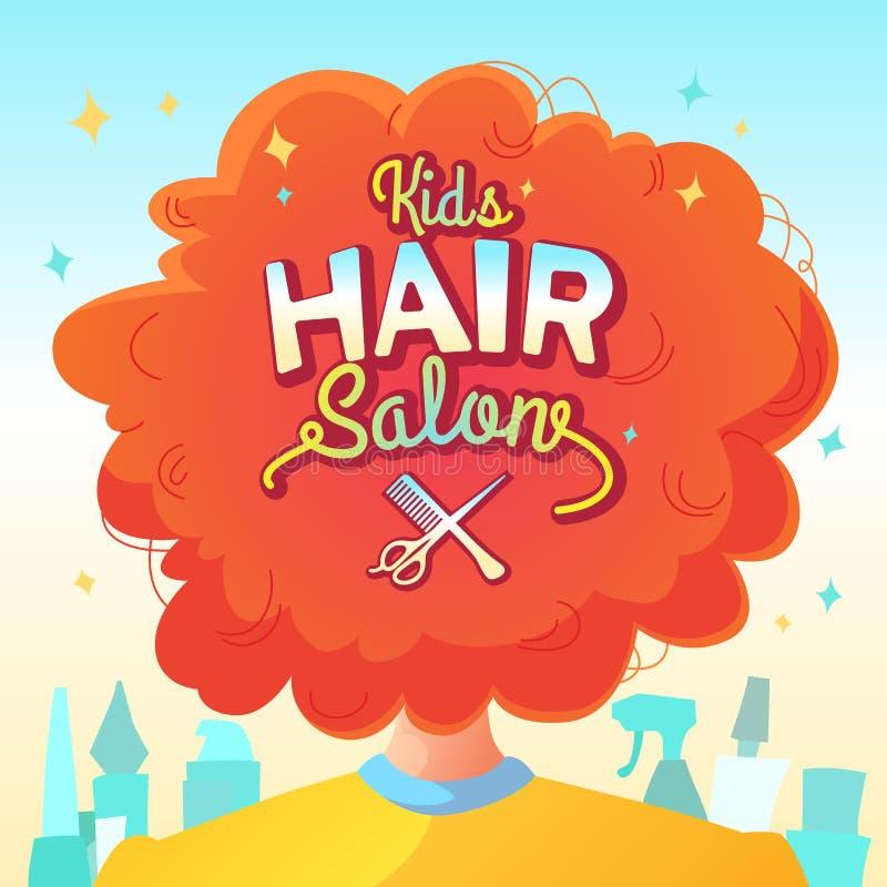 Kids hair salon. Vector illustration and poster in cartoon style vector illustration