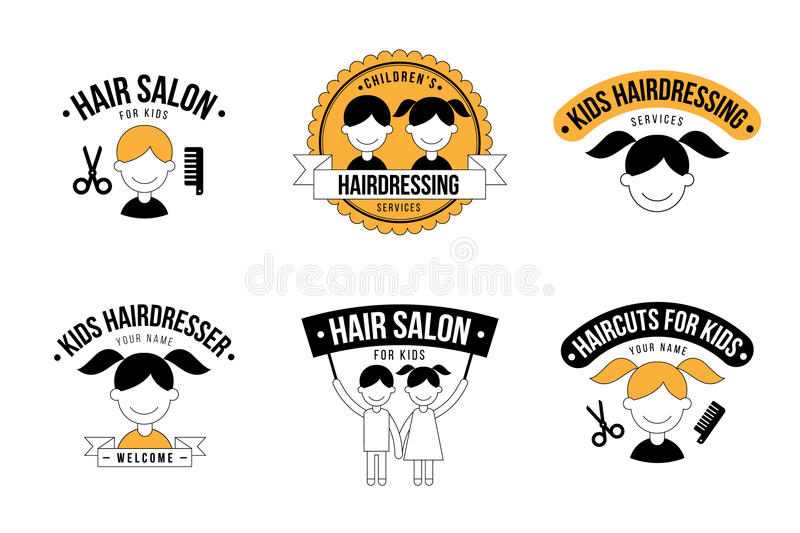 Kids hairdresser logo. Set of kids hair salon logo graphics stock illustration