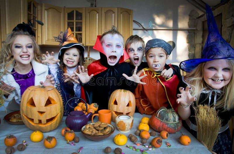 Kids on halloween royalty free stock image