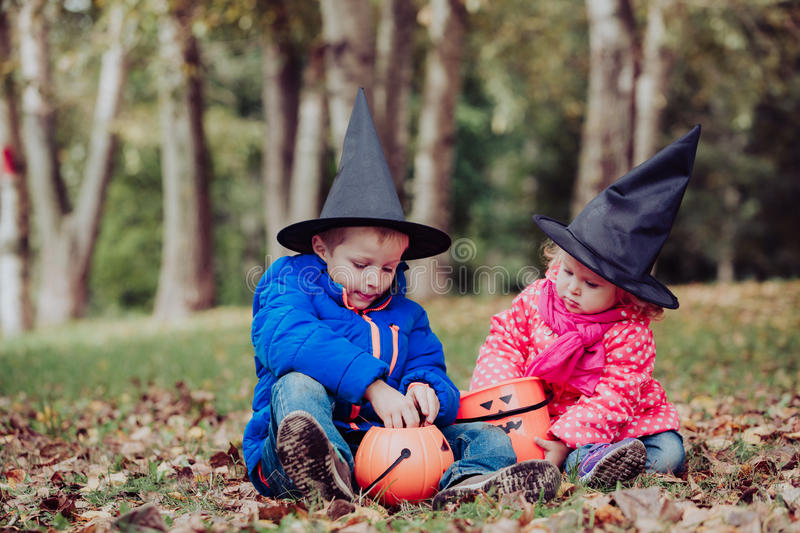 download kids in halloween costume play at autumn trick or treating stock image image