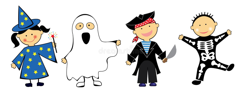 Download Kids in Halloween Costumes stock vector. Image of skeleton - 15921675