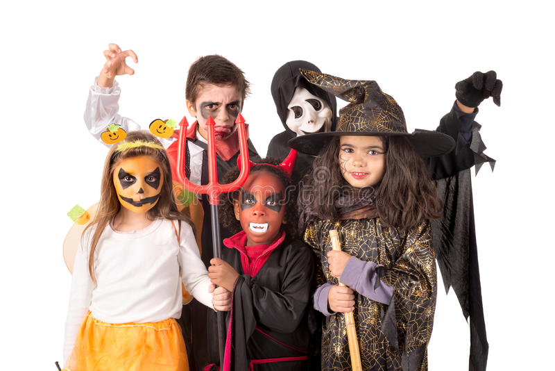Kids in Halloween stock image