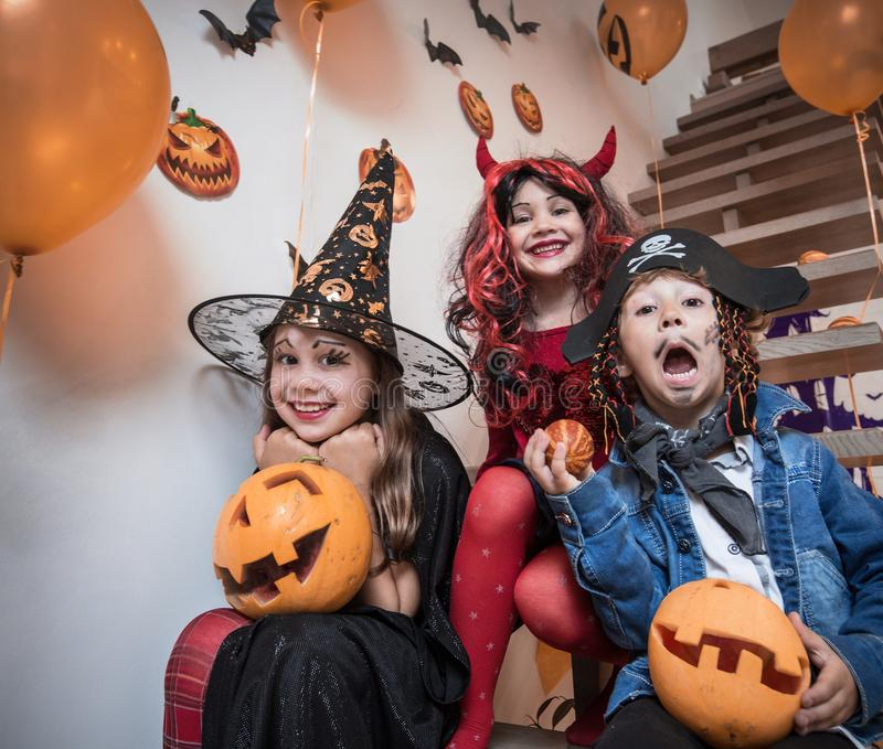 Kids in Halloween party royalty free stock photography