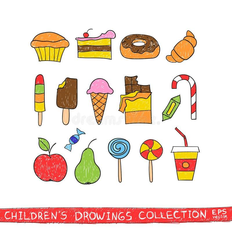 kids hand drawing tasty food stock vector illustration