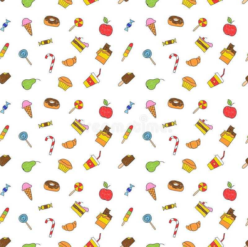Kids hand drawing tasty food. Cartoon sketch pattern of child vector doodles set vector illustration