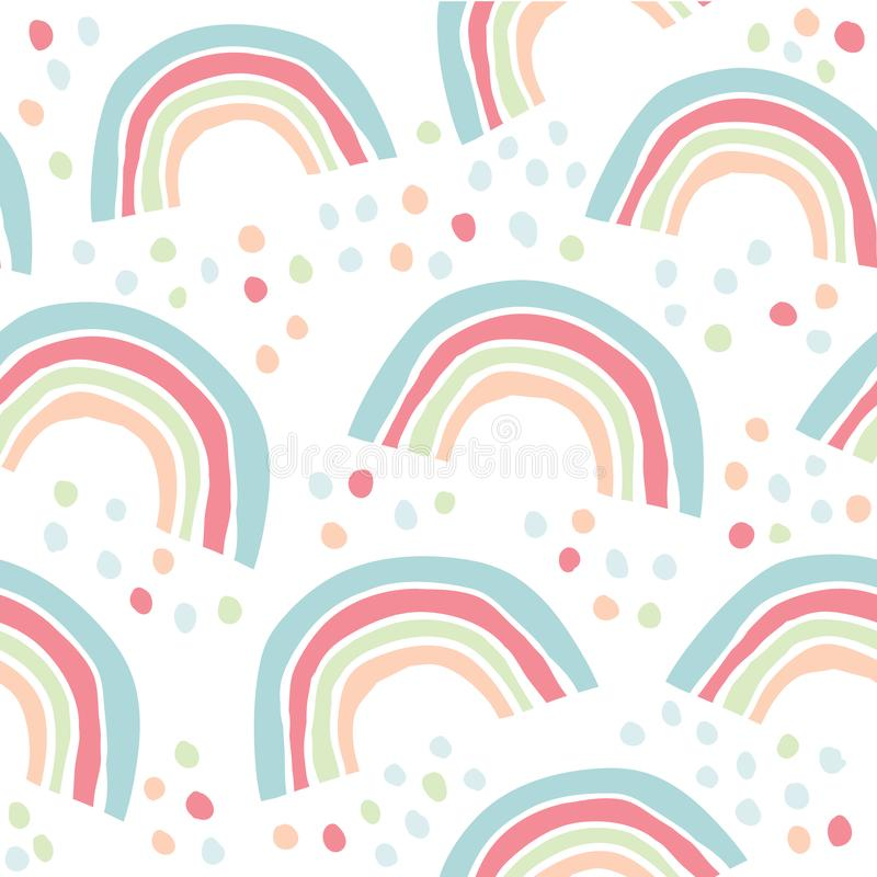 Kids hand drawn pattern with colorful rainbows. Kids hand drawn seamless pattern with colorful rainbows. Summer background. Vector illustration. Print for babys royalty free illustration