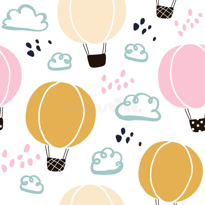 Kids hand drawn seamless pattern with balloons vector illustration