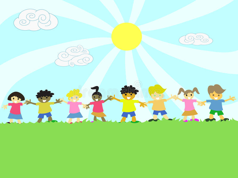 Download Kids Hand In Hand On The Grass Stock Vector - Illustration of children, cartoon: 22273183