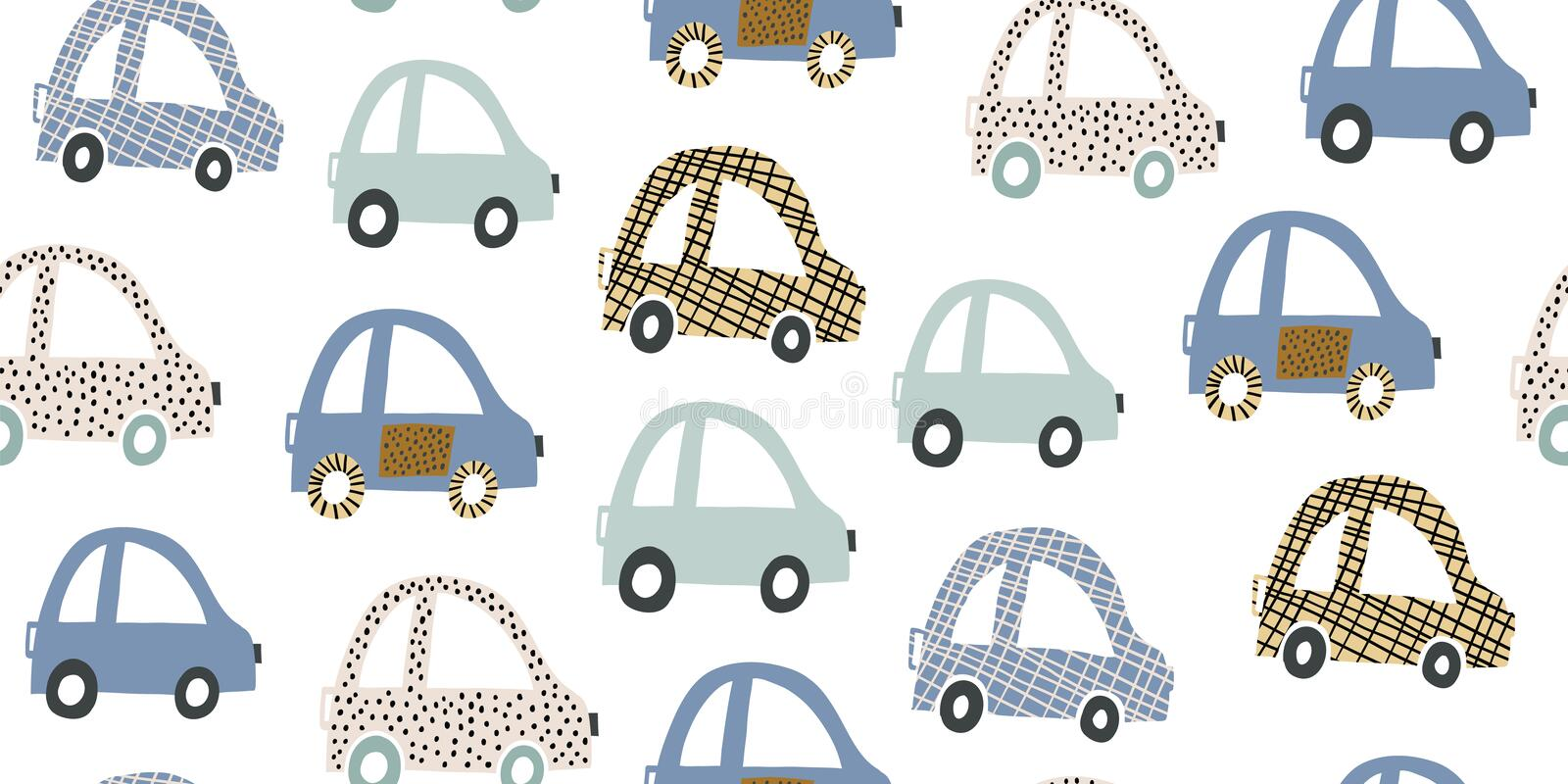 Kids handdrawn seamless pattern with colorful cars. Kids hand drawn seamless pattern with colorful cute cars. Nursery minimalistic background. Pastel colors for vector illustration