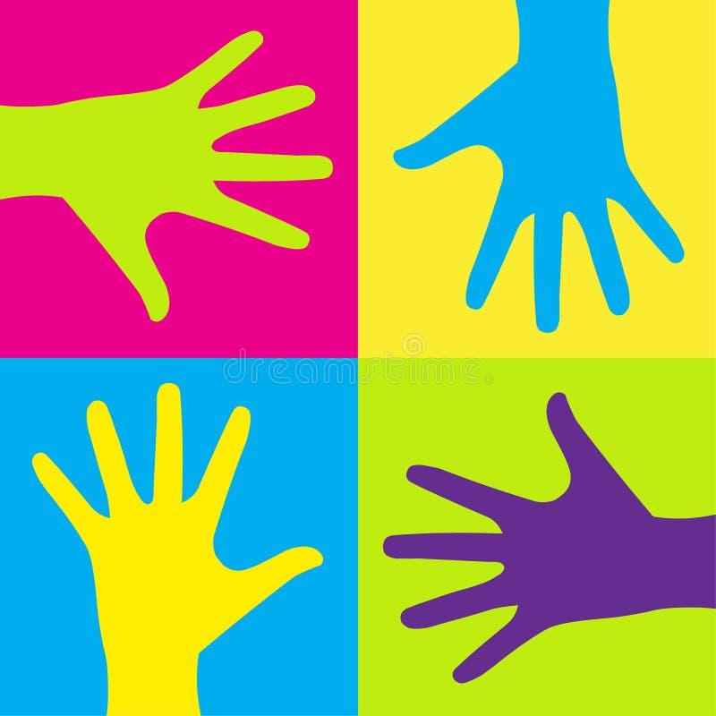 Kids hands. Vector illustration of group of colorful child hands on color background